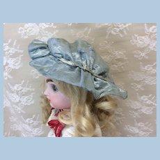 Small Antique Blue Silk Bebe Bonnet