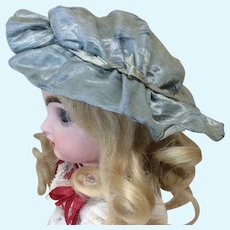 Small Antique Blue Silk Bebe Bonnet