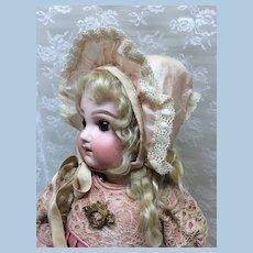 Pink Silk Bonnet for Antique Doll