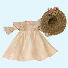 Lovely Spring Ensemble Dress & Hat for Antique Doll