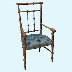 Antique Paris Silk Tufted Faux Bamboo Chair Antique Doll