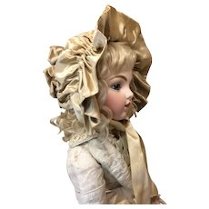 Antique Silk Ruffled Wired Bonnet for Large Doll
