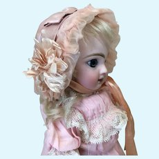 Small Antique Silk French Bonnet Peachy Pink