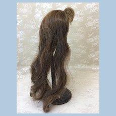 """8 1/2"""" Unusually Long Human Hair Wig Brunette Bangs"""