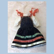Antique Original 2 Piece Dress & Blouse For Smaller Doll