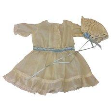 Vintage Dress & Bonnet for Cabinet Sz Doll