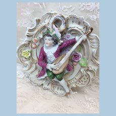 Antique Porcelain Boy with Lute Wall Hanging Doll Display