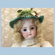 Silk Moire Vintage Doll Hat Green & Pink