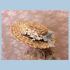 Beautiful Vintage Woven Straw Hat for Doll