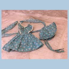 Vintage Dress & Bonnet for Hard Plastic or Compo Dolls Toni Sweet Sue