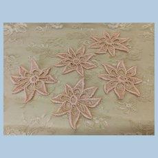 5 Vintage Pale Pink Flower Appliqués for Doll Sewing