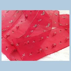 Wide Embroidered Red Ribbon For Doll Sashes, Hats