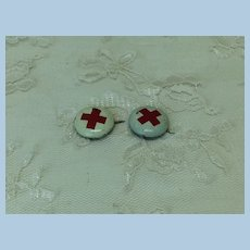 Two Antique Miniature Red Cross Doll Pins