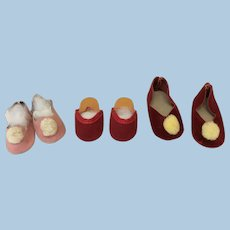 3 PRs Vintage Slipper Style Doll Shoes