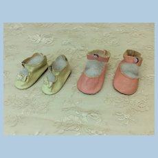 2 Very Nice Prs Snap Shoes Compo or Hard Plastic Dolls
