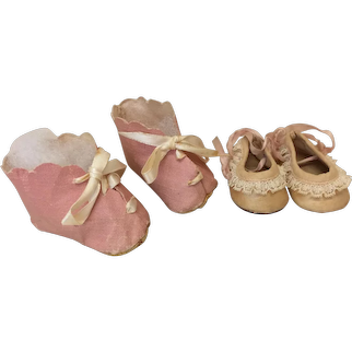 Two Pr Pink Vintage Doll Shoes