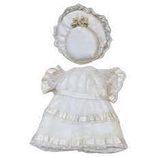 Small Netting & Silk Dress & Hat for All Bisque or Small Doll