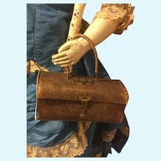 Antique Leather Doll Purse Necessaire French Fashion or Bebe