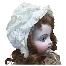 Pretty Smaller Ruffled Doll Bonnet