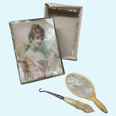 Antique French Au Bon Marche Box with French Fashion Accessories