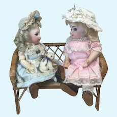 Larger Wood & Rattan Bench for Dolls