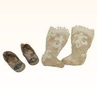 Tiny Antique French Shoes & Lace Socks for Small Bebe Bisque or Mignonette