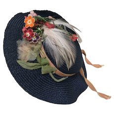 Pretty Navy Blue Hat with Flowers & Feather Trim for French or German Bisque doll