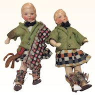 Tiny Bisque Boy & Girl Doll House size dolls