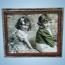 Hand Tinted French Photo in Frame for Doll House or Display