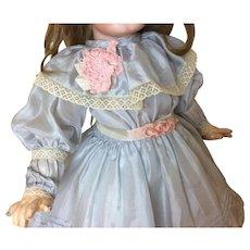 "Wonderful Silk Dress Antique Fabrics & Trims 18-21"" Bisque Doll"