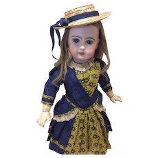 Deep Blue Silk Dress & Hat Antique Materials French Bisque doll