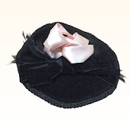 Old Black Velvet Hat Feathers & Ribbon Bisque Doll
