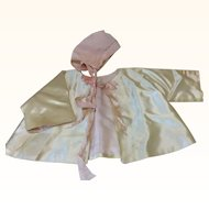 Beautiful Vintage Satin Silk Jacket & Bonnet for Larger Doll