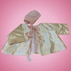 Beautiful Vintage Satin Silk Jacket & Bonnet for Larger Doll