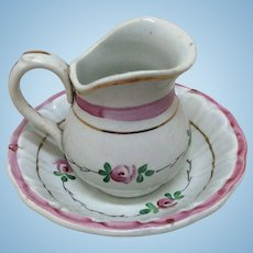 Beautiful French Porcelain Doll Size Wash Basin and Pitcher