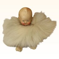 Tiny German Bisque Baby in Fur 3 1/2""