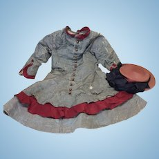 Amazing All Original Antique Toddler Dress & Hat for French or German Bisque doll