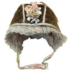 All Original Antique Velvet Bonnet for Bisque Doll