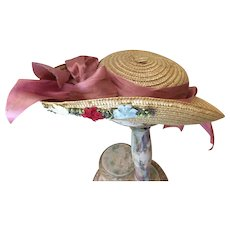 Antique Woven hat for French or German Bisque Doll