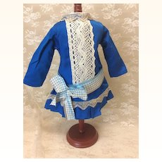 """Beautiful Sapphire Blue Dress for 19-21"""" French Doll"""