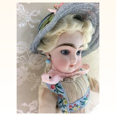 """Tiny Closed Mouth 8 1/2"""" FG Gaultier french bebe Bisque Head Doll"""