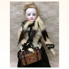 Small Woven Basket Purse reticule for french Fashion Doll