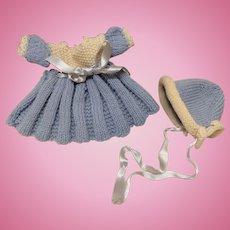 Vintage hand knit dress and hat for all bisque doll Kestner or other