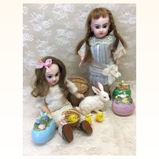 Three Vintage Hand Painted Eggs for Antique doll Easter display