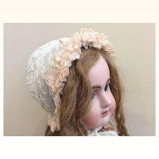 Antique Peach Beribboned Bonnet for larger doll