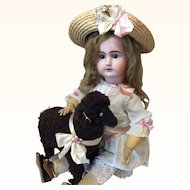 Unusual Brown Lambswool Sheep for Antique Bisque Doll Display