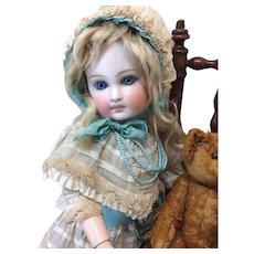 "Petite French Face Blue Eyed 12"" Belton Sonneberg Antique Bisque Doll"