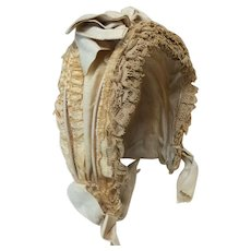 Antique French Silk Lined  Bonnet for Cabinet Sz Doll
