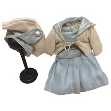 """Tiny Antique Silk and Wool Mariner Outfit 8-9"""" Bisque Doll"""