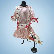 """Sweet 2 Pc Dress and Hat for Small Antique Doll 12-14"""""""